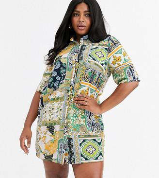 AX Paris Plus Plus shirt dress in border print floral