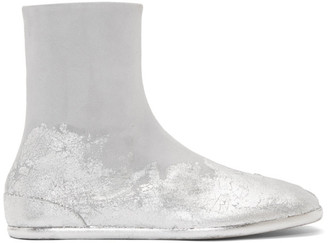 Maison Margiela Off-White and Silver Foil Suede Flat Tabi Boots