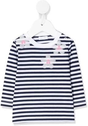 Il Gufo flower applique striped T-shirt