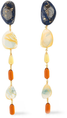 EJING ZHANG Gold-plated Sterling Silver, Stone And Resin Earrings