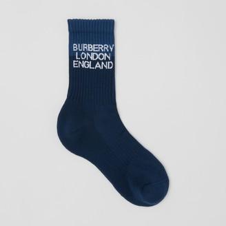 Burberry Logo Intarsia Technical Stretch Cotton Socks