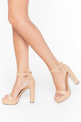 Nasty Gal Womens Higher Ground Faux Leather Platform Heels - Beige - 5