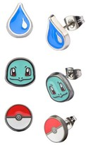 Pokemon Squirtle, Water Drop and Poké Ball Stainless Steel Stud Earrings Set