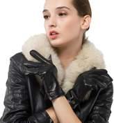 Nappaglo Women's Lambskin Leather Gloves Winter Warm Simple Long Fleece Lining Gloves