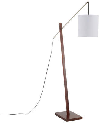 Lumisource Arturo Floor Lamp, Walnut Wood, Satin Nickel, White Fabric