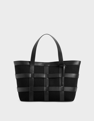Charles & Keith Large Caged Canvas Tote Bag
