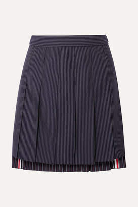 Thom Browne Pleated Pinstriped Wool Mini Skirt - Navy