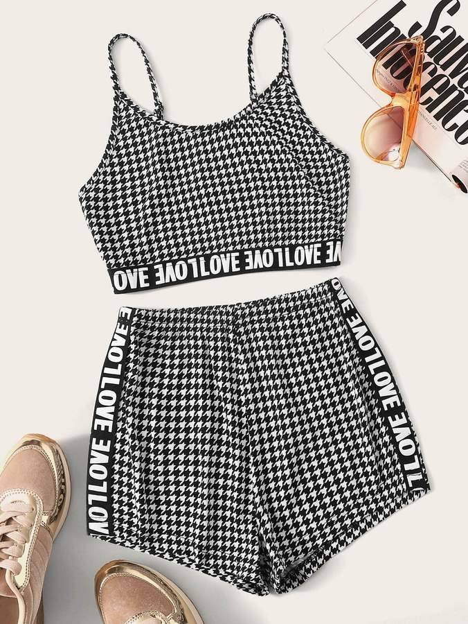 Shein Letter Tape Houndstooth Crop Cami Top & Shorts Set