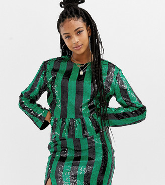 Collusion striped sequin crop top with ruffle hem