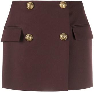Balmain Double-Breasted Wool Mini-Skirt