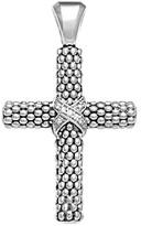 Lagos Diamond Caviar Cross Pendant in Sterling Silver