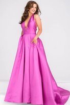 Jovani V Neck Mikado Prom Ballgown with Pleated Skirt JVN47530