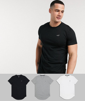 Hollister 3 pack solid curved hem t-shirt seagull logo slim fit in white/grey/black