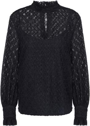 Sandro Ruffled-trimmed Lace Top