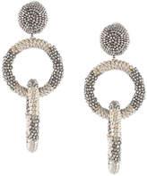 Oscar de la Renta beaded double hoop clip-on earrings