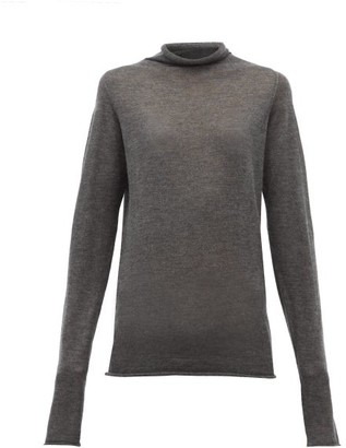 Raey Sheer Raw Edge Funnel Neck Cashmere Sweater - Womens - Charcoal