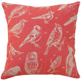 123 Creations Bird Watch Printed Linen Pillow With Feather-Down Insert, Coral Red