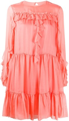 Temperley London Lovebird tiered silk dress