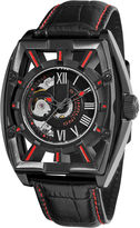 Stuhrling Original Sthrling Original Mens Leather Strap Red Accent Automatic Skeleton Watch