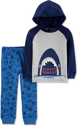Carter's Carter Baby Boys 2-Pc. Cotton Hooded T-Shirt & Shark-Print Pants Set