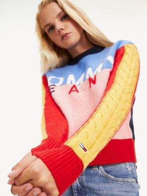 Tommy Hilfiger Multicolour Logo Cropped Fit Jumper
