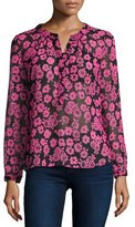 Milly Brooke Floral-Print Chiffon Blouse, Pink