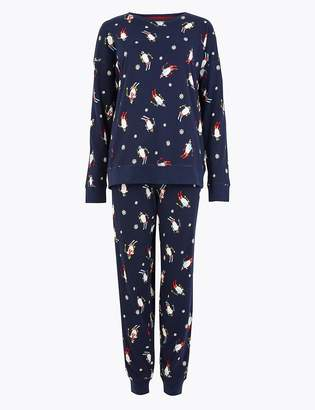 Marks and Spencer Pure Cotton Penguin Print Pyjama Set