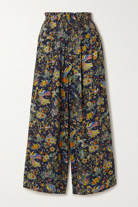 Tory Burch Smocked Printed Voile Wide-leg Pants - Navy