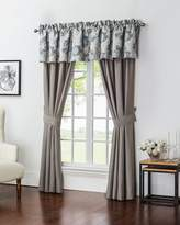 "Waterford Two Blossom Pewter Taupe Jacquard Curtains, 84""L"