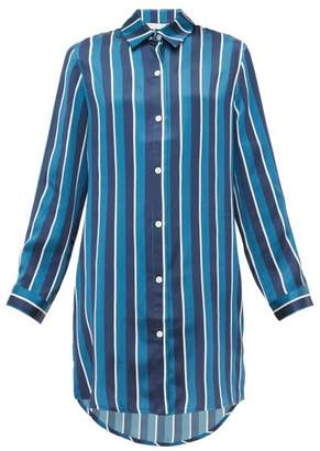 Derek Rose Brindisi 40 Striped Silk Nightshirt - Womens - Navy