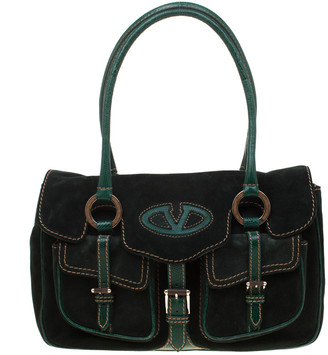 Valentino Green Suede and Lizard Satchel