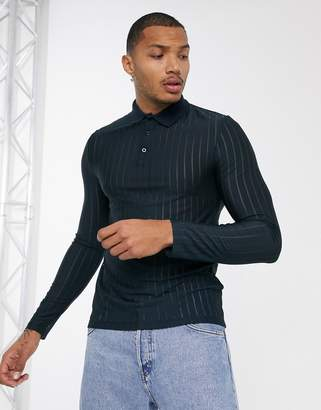 Asos Design DESIGN skinny long sleeve polo shirt in sheer stripe in navy