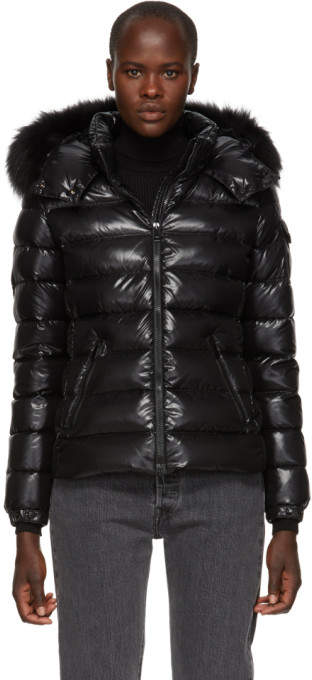 Moncler Black Down and Fur Bady Jacket
