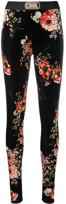 COOL T.M Skinny Floral Velvet-Effect Leggings