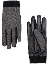 MANGO Contrast leather gloves