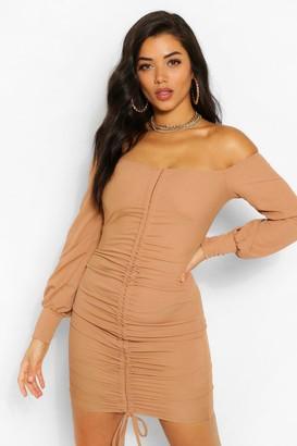boohoo Rib Off The Shoulder Ruched Front Mini Dress