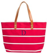 Cathy Women's Monogrammed Red Striped Tote with Leather Handles - Cathy's Concepts
