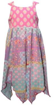 Blueberi Boulevard Toddler Girls Printed Handkerchief-Hem Dress