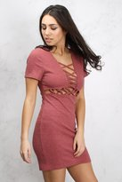Rare Pink Lace Up Ribbed Knit Mini Dress