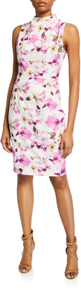 Black Halo Corrine Floral-Print Mock-Neck Sleeveless Sheath Dress