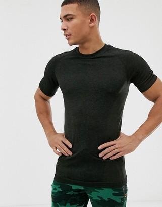 New Look SPORT stretch t-shirt in dark khaki-Green