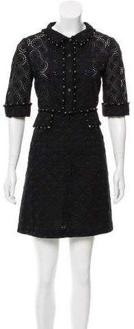 Chanel Short Sleeve Eyelet Dress