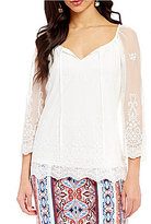 I.N. Studio Round Neck Solid Allover Lace Top