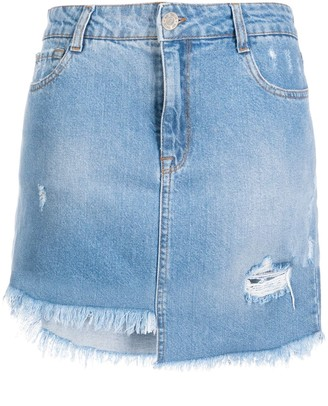 Twin-Set Asymmetric Denim Mini Skirt