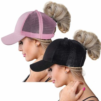 ZOORON Ponytail Baseball Hats Cap for Women Sun Messy High Bun Hat Ponycaps Adjustable Cotton and Mesh Trucker Baseball Cap (Black+Pink(2 Pack mesh Back))