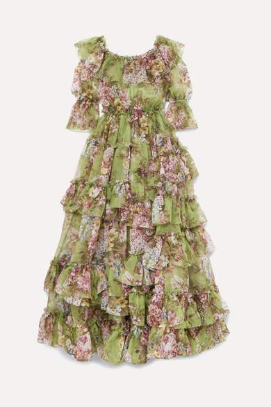 Dolce & Gabbana Ruffled Tiered Floral-print Silk-chiffon Gown - Green
