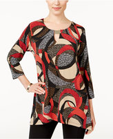 JM Collection Printed Handkerchief-Hem Top, Only at Macy's