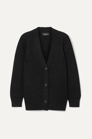 Akris Oversized Ribbed Cashmere-blend Lurex Cardigan - Black