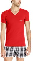 Emporio Armani Men's Stretch Cotton Eagle Logo V-Neck T-Shirt