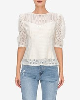 Express English Factory Lace Puff Sleeve Top